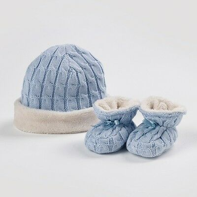 Natures Purest NATURES KNITS Blue CABLE KNIT HAT & BOOTEES SET Baby 0-6 Months
