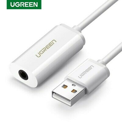 UGREEN External USB Audio Sound Card Mic Adapter Speaker 3.5mm Stereo For PC New