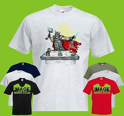 Thor Whack Minions Mens PRINTED T-SHIRT Funny Mashup Avengers Heroes
