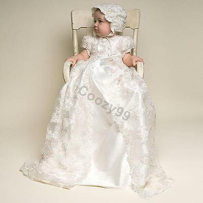 Infant Toddler Baby Girls Ivory&White Gown Baptism Christening Dress Size NB-2Y