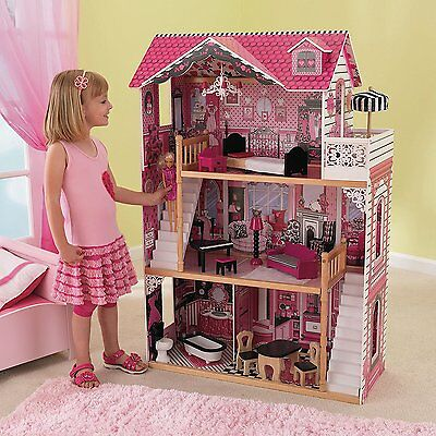 Doll House Girls Kid Child Play Home Game Set Cute Cottage Pink Accessories Gift