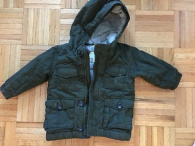 Toddler Boys Army Green Hooded OLD NAVY Cargo Jacket Size 12-18 Months
