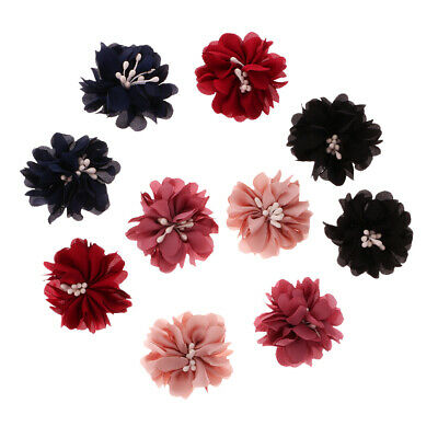 10x Colorful Sewing Fabric Flower Embellishments for DIY Dress Hair Bow Applique