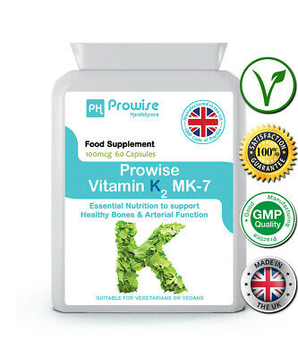 Prowise Vitamin K2 Mk-7 100mcg 60 Capsules From Natural Natto, Uk Manufactured