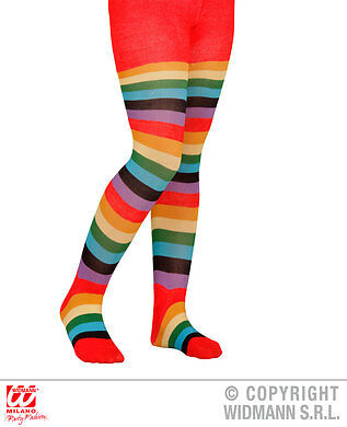 Childrens 11-14 years rainbow striped multicoloured tights fancydress accessory