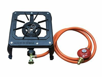 Cast Iron Single Gas Burner for Outdoor Camping with Pipework & Regulator Kit
