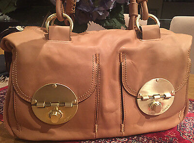 Mimco Turnlock Large Hand Bag Leather Honey Tan LARGE Handbag AUTHENTIC new