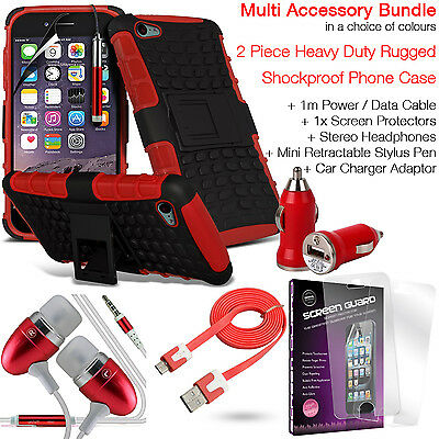 Shockproof Protection Heavy Duty Tough Phone Case Cover✔Accessory Pack✔Red