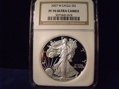 2007-W American Silver Eagle NGC PF 70 Ultra Cameo NICE COIN  D- 249