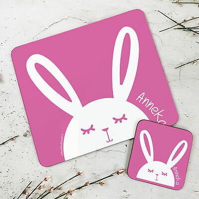 Personalised Kids New Pink Bunny Wooden Glossy Placemat and Coaster Set