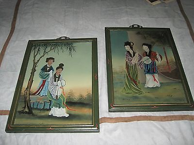Two Vintage Oriental Asian Hand Painted Reverse Paintings on Glass 16x22""