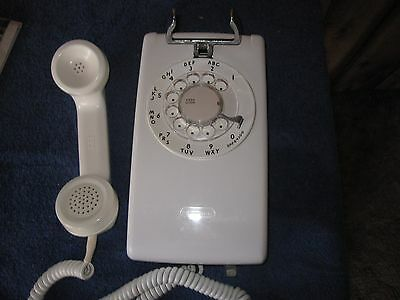 Western ElectriC   WHITE 554 WALL PHONE   HARDWIRED      Vintage Telephone