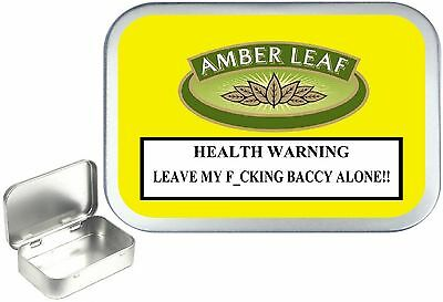 Hinged Amber Leaf Warning Silver 1oz Tobacco Tin, 50ml Stash Can,Pocket tin,Pill