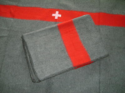 Swiss army / military wool blanket with stripe and cross