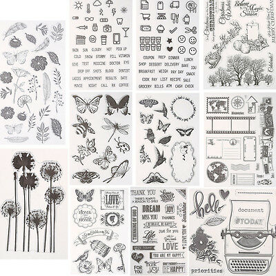 Large Butterfly Transparent Rubber Stamp Seal DIY Craft Scrapbooking Decor Craft