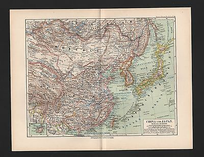 Landkarte map 1892: CHINA UND JAPAN. Asien Asia Inseln Atlantik Pazifik