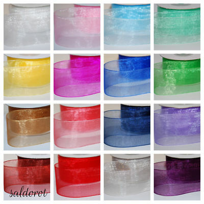 Many Colours ! FULL REEL 25-50m Woven Edge Organza Sheer Chiffon Wedding Ribbon