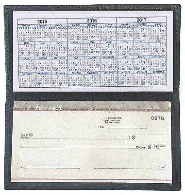 Black Basic Leather Checkbook Cover Black NEW