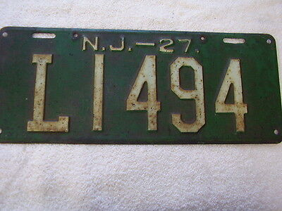 1927  New Jersey   License  Plate  L1494