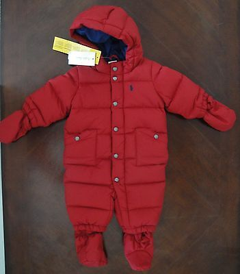 NWT Ralph Lauren Infant Boys Red Down Hooded Snowsuit Bunting 3m 6m 12m 18m $165