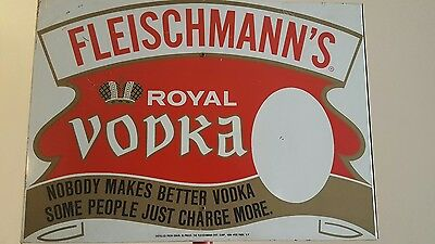 (Vtg) Fleischmanns Royal Vodka Metal Stand Sign Beer Bar Game Room Hyde Park Ny