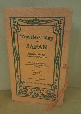 Travelers' Map of Japan, 1927 Japanese Government Railways, Early Vintage