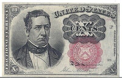 1874 US Fractional Currency Civil War 10c F1266 Print Flaw Error - Short Key*