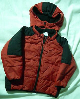 Boy's Maroon & Black Winter Coat Jacket Quilted Padding Size 4T Toddler