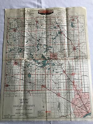 Vintage 1921 Mcalpines Official Map Of Oakland County , Michigan