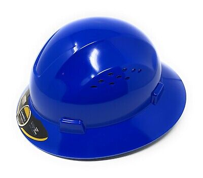 HDPE  BlueFull Brim Hard Hat with Fas-trac Suspension