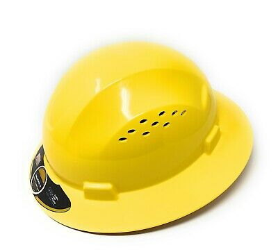 HDPE  Yellow Full Brim Hard Hat with Fas-trac Suspension