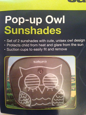 2X  Car Window Sun Shield Shade Blind OWL, TWIN PACK. UV Protection for Children
