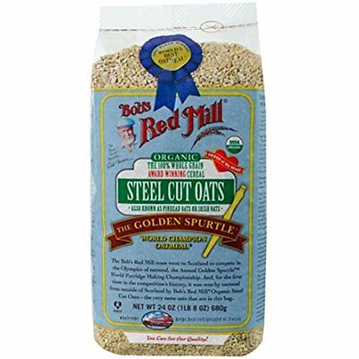 Bobs Red Mill Oatmeal Organic Steel Cut Oats, 24 Ounce (Pack of 4)
