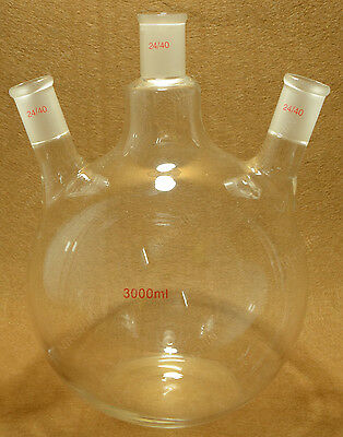 24/40,3000ml 3-Neck,Flat Bottom Glass Flask,Three Neck,Laboratory Boiling Bottle