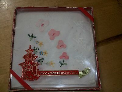 Vintage Ladies Cotton Hankie hand emboidered new in box