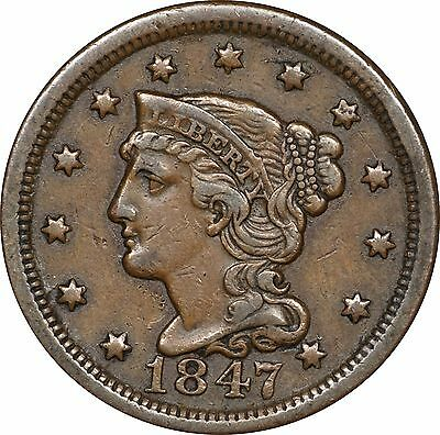 1847 Braided Hair Large Cent - Extra Fine XF
