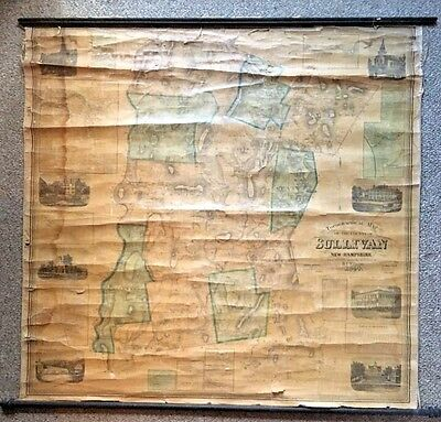 Antique 1860 Sullivan County NH 57X54 Wall Map H.F. Walling Smith & Morley AS IS