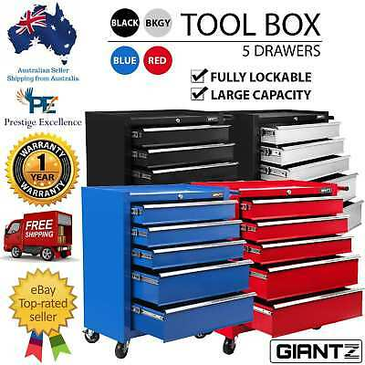 5 Drawers Toolbox Chest Cabinet Tool Box Roller Trolley Heavy Duty w/ Locked New
