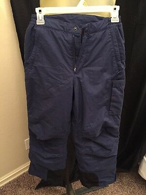 LANDS END Snow Pants Youth Size 12 Navy Insulated Winter Ski Boys Girls Kids