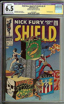 Nick Fury Agent Of SHIELD #1 CGC 6.5 C-1  Signed Steranako Signature Series