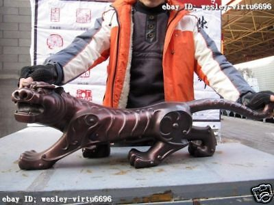 11 Chinese  Superb Pure Red Bronze Fengshui Evil ferocity Money Tiger Statue