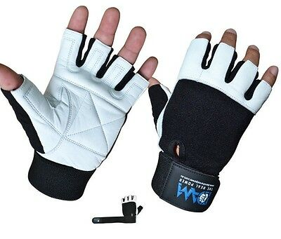 Dam Weight Lifting Gym Gloves Real Leather Wrist Support Wraps Straps Crossfit