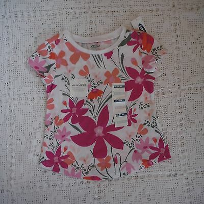 Girls Pink Floral Top tee shirt size 18-24 months Old Navy NEW short sleeve