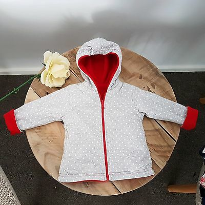 PAPOOSE Reversible Red & Grey DOT Winter Hooded Jacket Baby Girl Size 00/0 BNWT