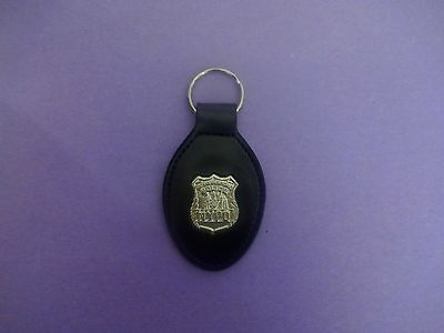 NYPD Police Officer mini badge leather key fob - NYC Police Officer key chain