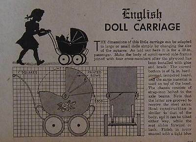 English Doll Carriage & Dump Truck 1948 How-To PLANS Wooden Toys