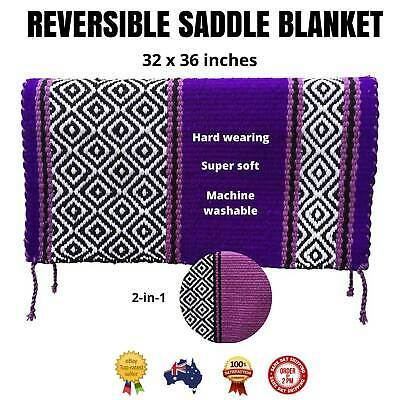 """NEW Purple WESTERN/STOCK SADDLE PAD/SHOW BLANKET *Reversible Colours* 32"""" x 36"""""""
