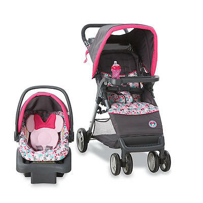 NEW Disney Minnie Mouse Infant Baby Stroller Car Seat Travel System PINK