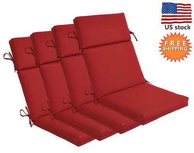 Bossima Outdoor Seat Pad Cushion Patio High Back Dining Chair Rust Red, Set of 4
