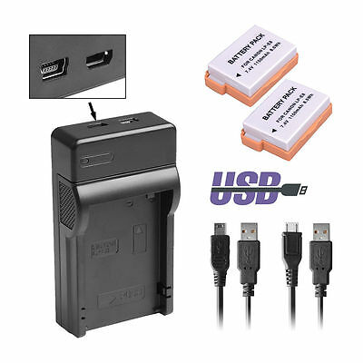 2×Battery + USB Charger LP-E8 For Canon EOS 550D 600D 650D Rebel T2i Kiss X5 UK